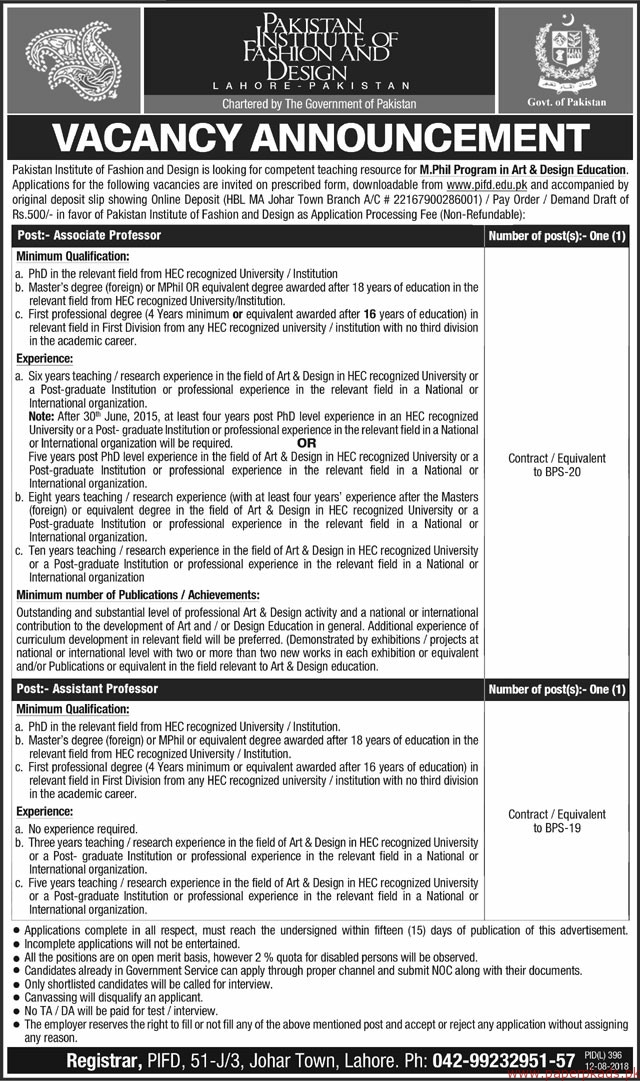Pakistan Institute of Fashion an Design Jobs 2018 Latest