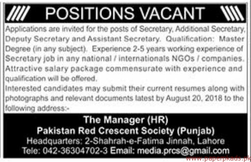 Pakistan Red crescent Society Jobs 2018 Latest