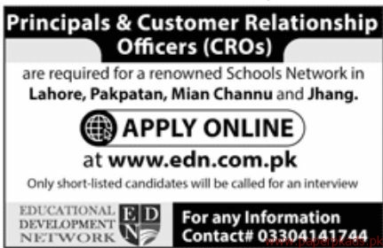 Principals & CUstomer Relationship Officers Required