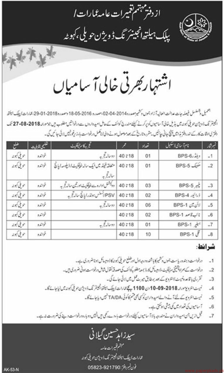 Public Health engineering Division Jobs 2018 Latest