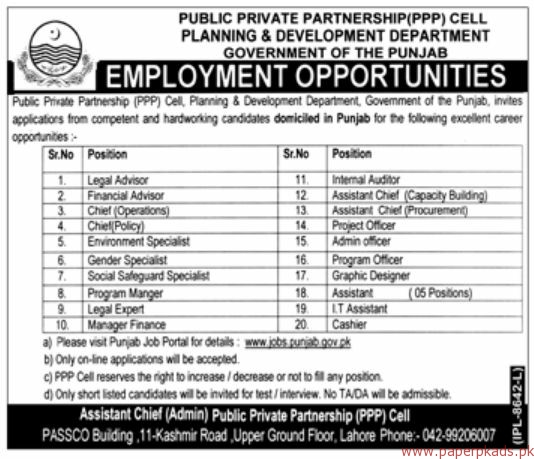 Public Private Partnership PPP Cell Planning & Development Department Jobs 2018 Latest