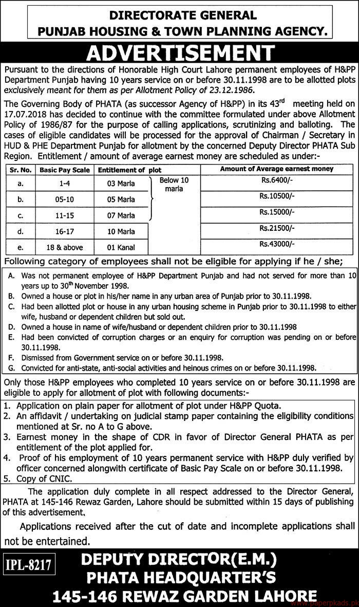 Punjab Housing & Town Planning Agency Jobs 2018 Latest