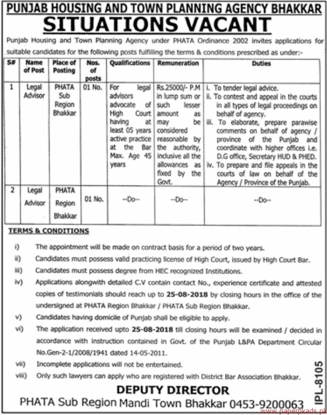 Punjab Housing and Town Planning Agency Jobs 2018 Latest