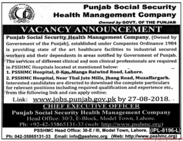 Punjab Social Security Health Management Company Jobs 2018 Latest