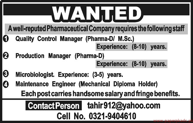 Quality Control Manager Production Manager and Other Jobs
