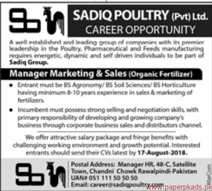 Sadiq Poultry Private Limited Jobs 2018 Latest