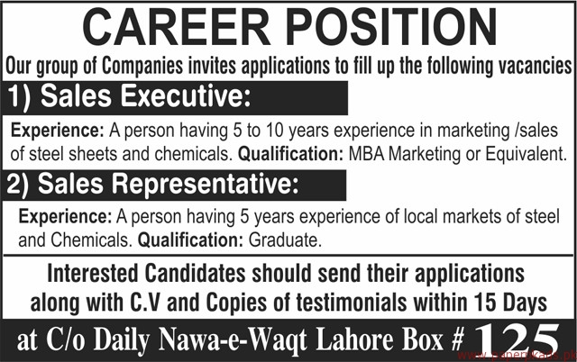 Sales Executive and Sales Representative Required