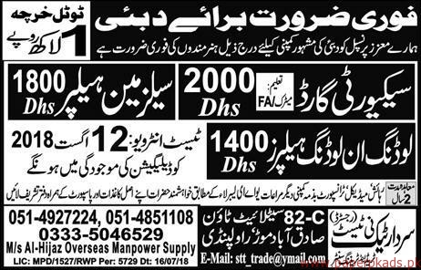Security Guards Slaesman and Other Jobs in Dubai