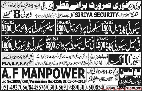 Security Guards Supervisors and Other Jobs in QATAR