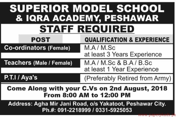 Superior Model School & Iqra Academy Jobs 2018 Latest