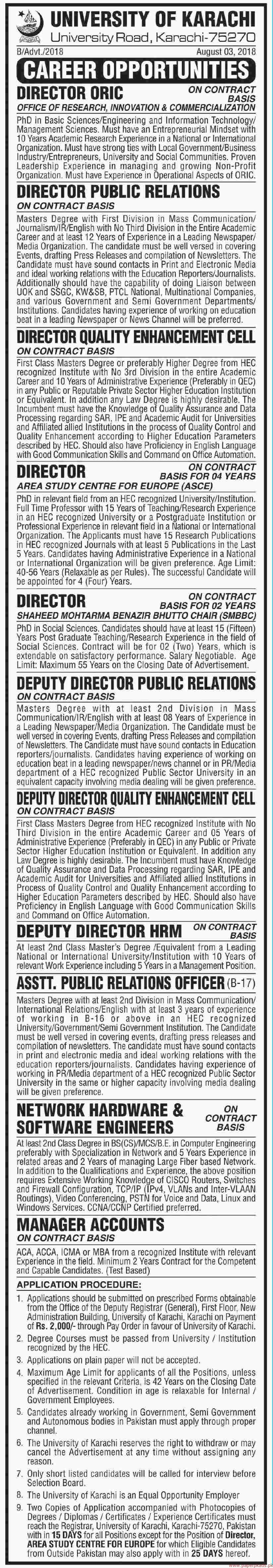 University of Karachi jobs 2018 Latest