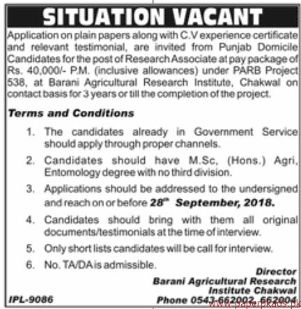 Agriculture Research Institute Jobs 2018 Latest