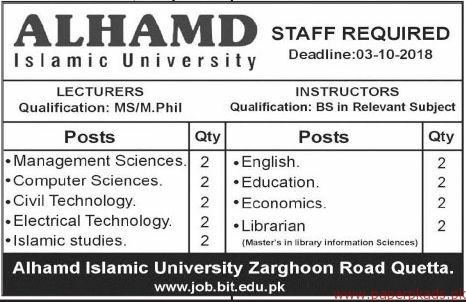 Alhamd Islamic University Jobs 2018 Latest
