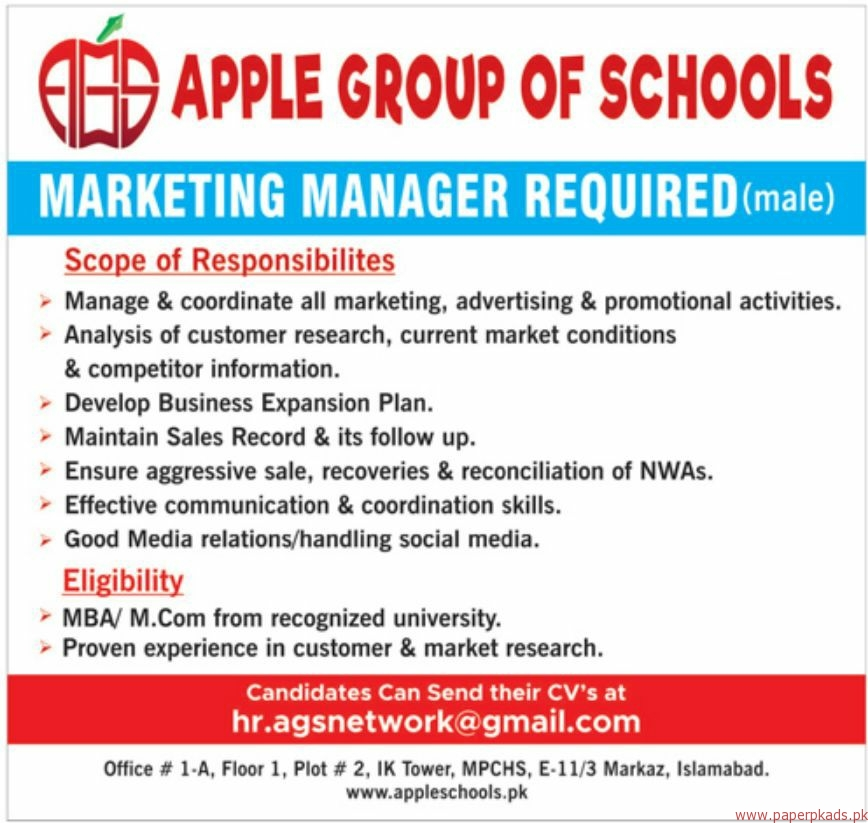 Apple Group of Sciences Jobs 2018 Latest