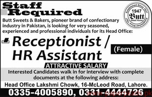 Butt Sweets & Bakers Jobs 2018 Latest