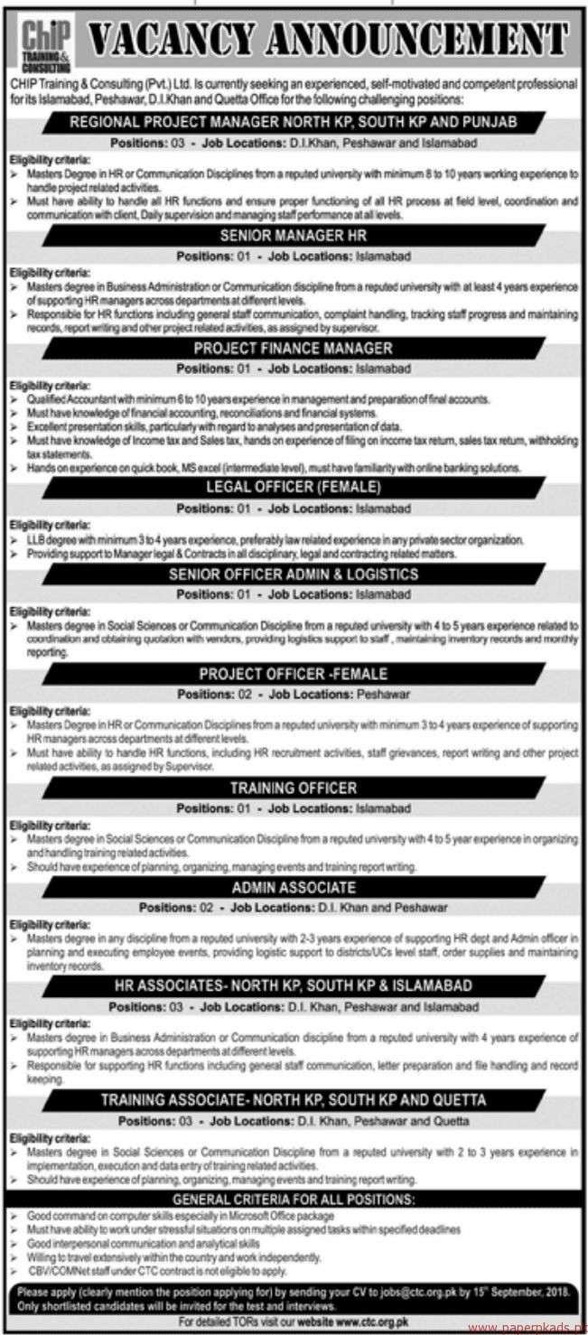 CHIP Training & Consulting Private Limited Jobs 2018 Latest