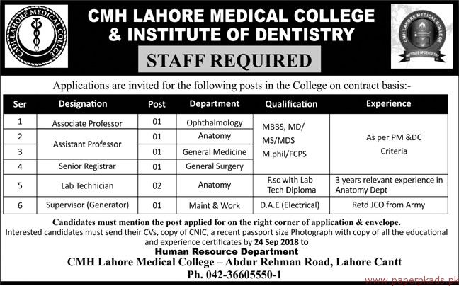 CMH Lahore Medical College & Institute of Dentistry Jobs 2018 Latest