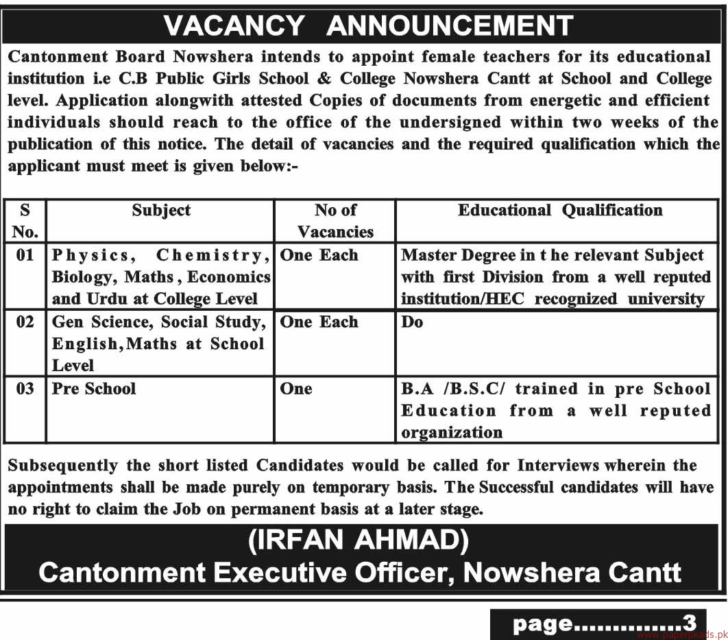 Cantonment Board Nowshera Jobs 2018 Latest