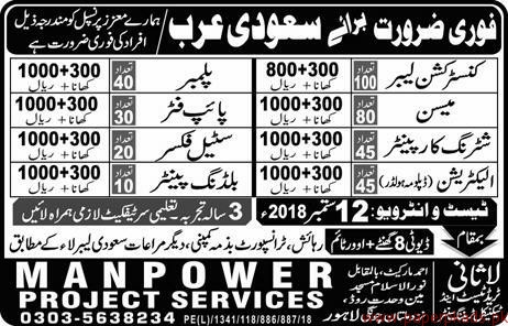 Constructon Labours Plumbers Steel Fixers Mason Jobs in Saudi Arabia