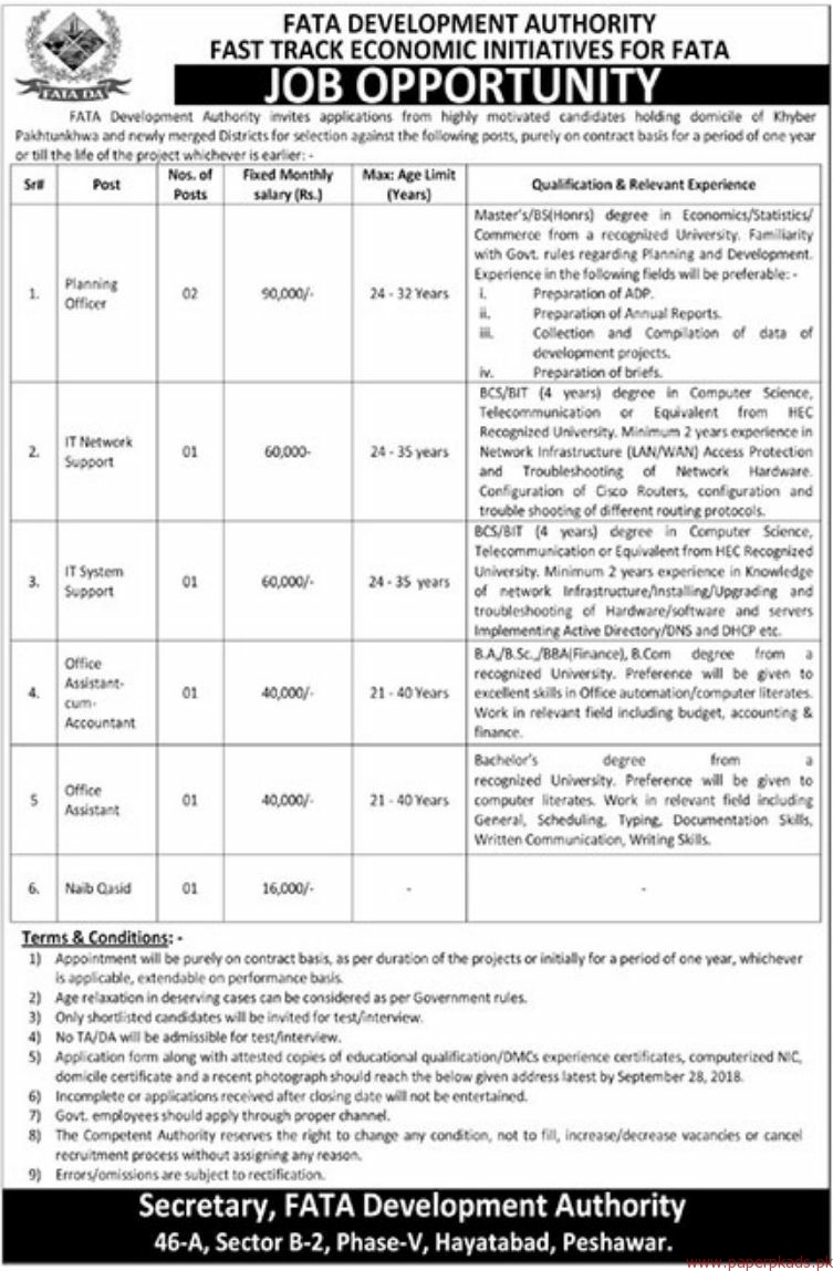FAT Development authority Fast Track Economic Initiatives for FATA Jobs 2018 Latest