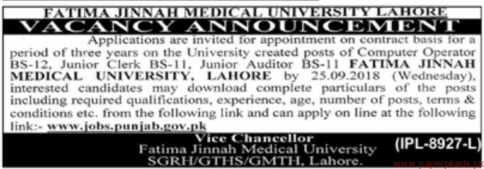 Fatima Jinnah Medical University Jobs 2018 Latest