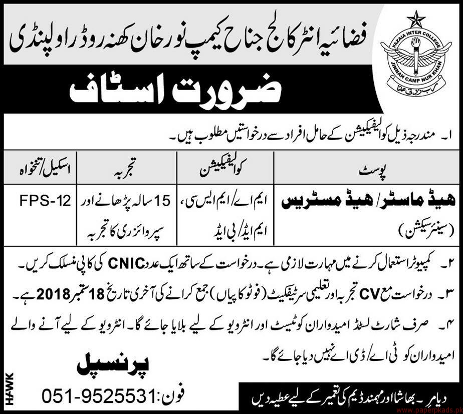 Fazaia Inter College Staff Required
