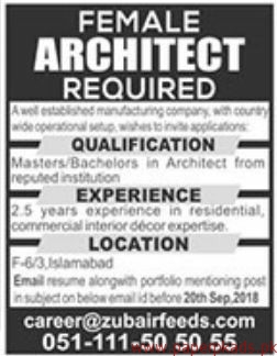 Female Architect Required