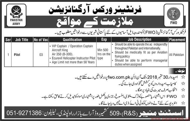 Frontier Works Organization Jobs 2018 Latest