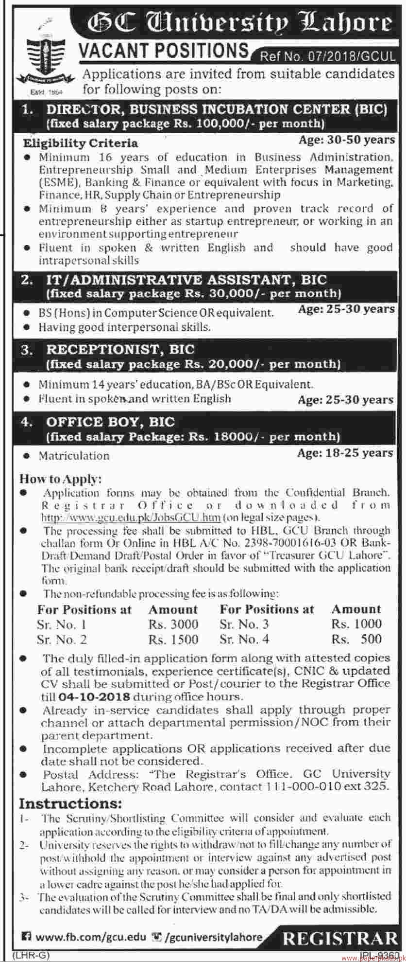 GC University Lahore Jobs 2018 Latest