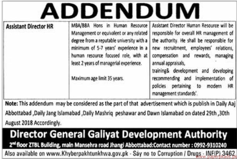 Galiyat Development Authority Jobs 2018 Latest