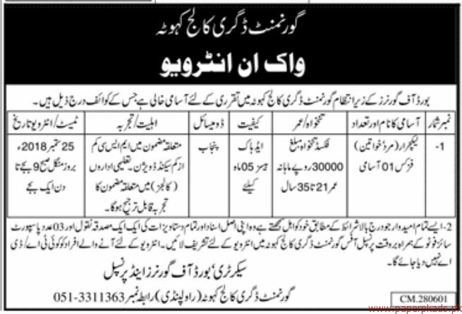 Government Degree College Jobs 2018 Latest