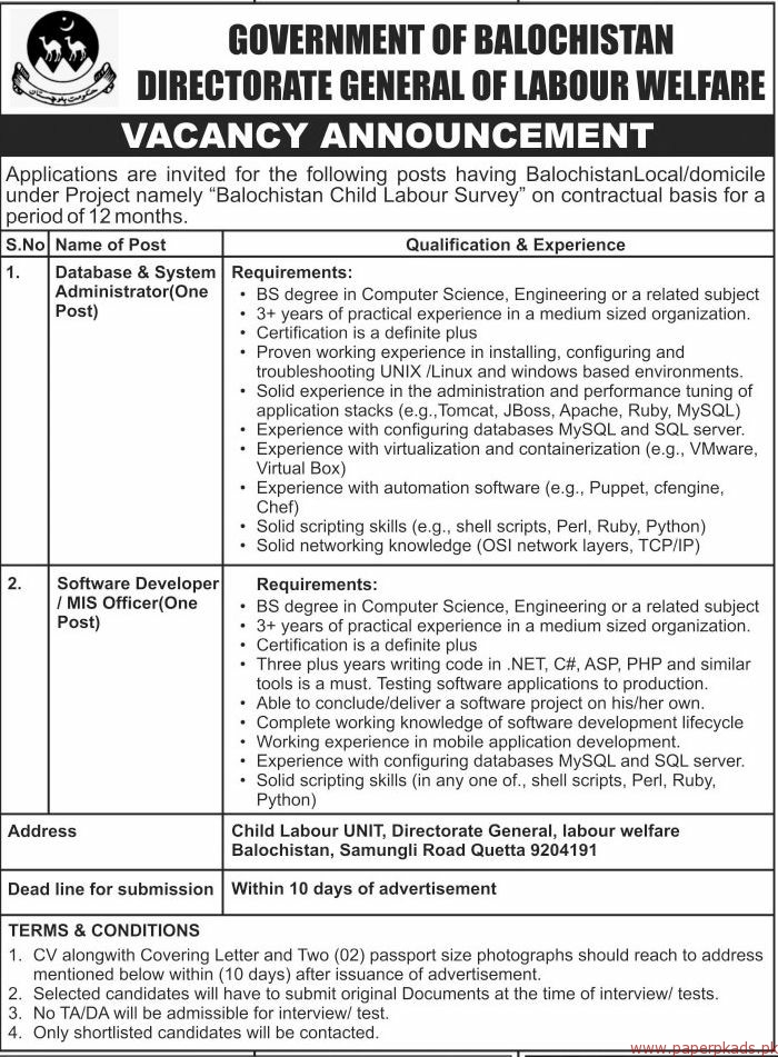 Government of Balochistan - Directorate General of Labour Welfare Jobs 2018 Latest