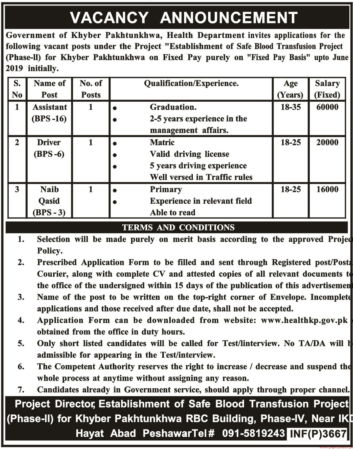 Government of KPK - Health Department Jobs 2018 Latest