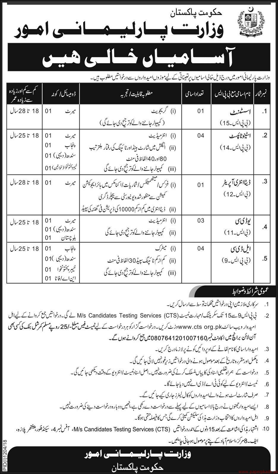 Government of Pakistan - Ministry of Parlimentary Affairs Jobs 2018 Latest-2