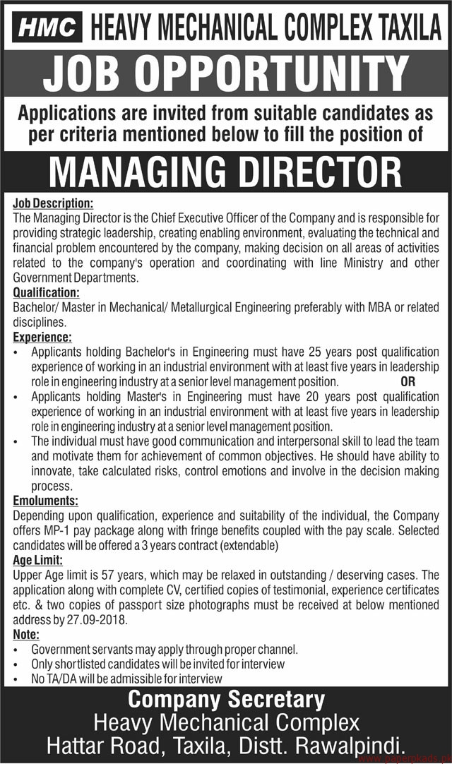 Heavy Mechanical Complex Taxila Staff Required