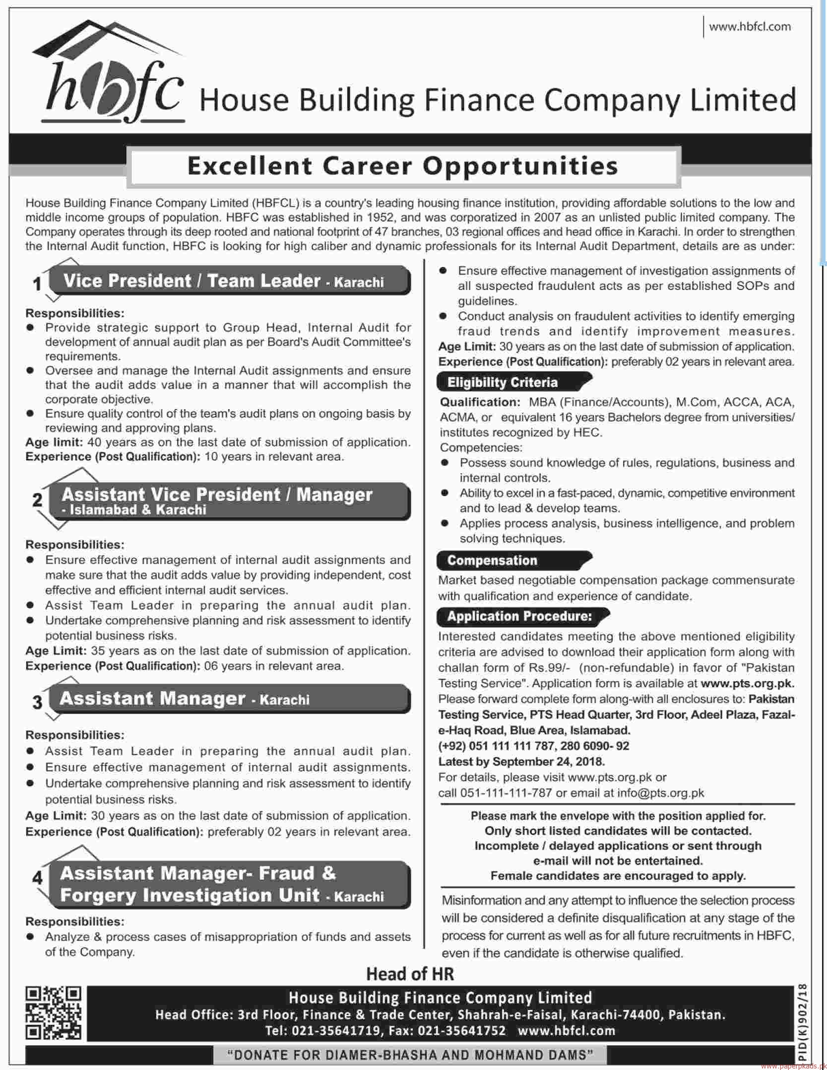 House Building Finance Company Limited Jobs 2018 latest
