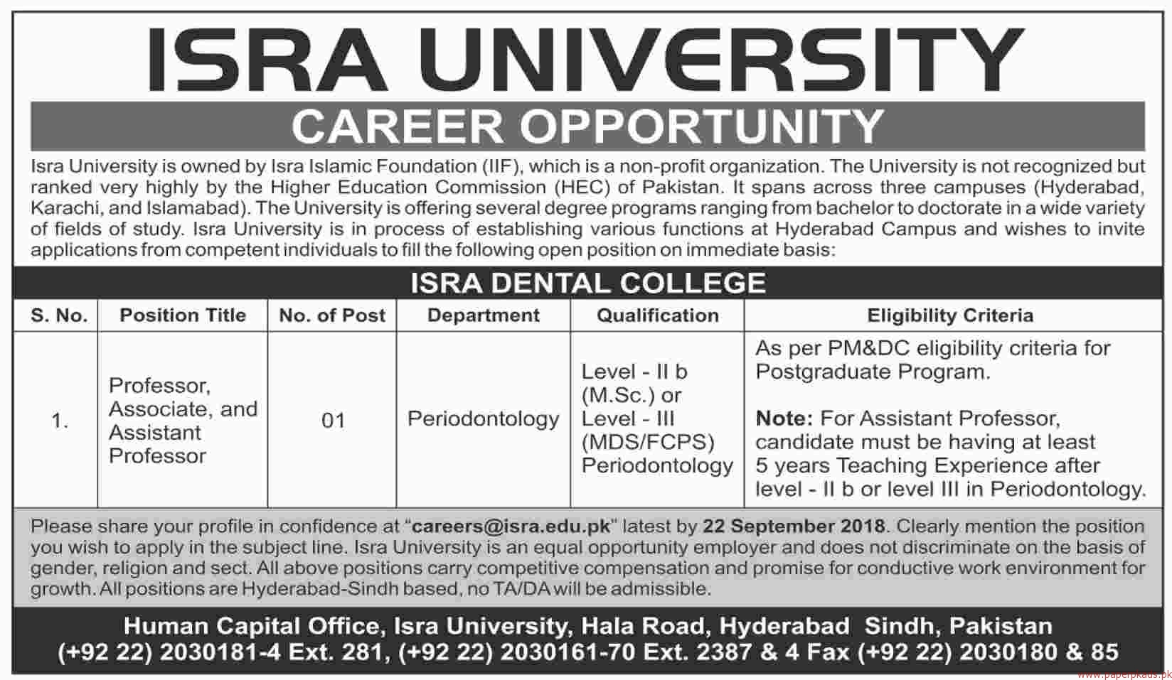 ISRA University Jobs 2018 Latest