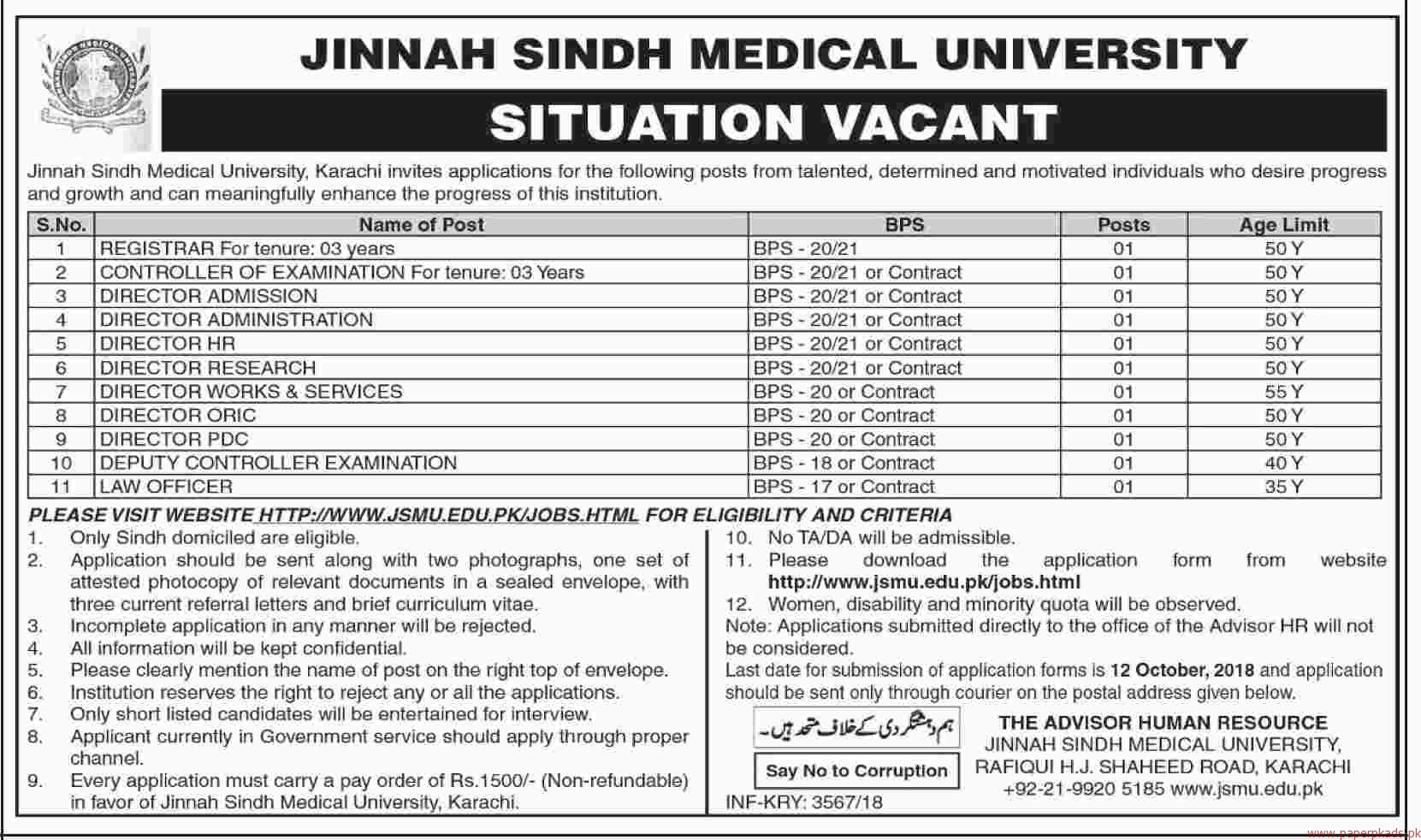 Jinnah Sindh Medical University Jobs 2018 Latest