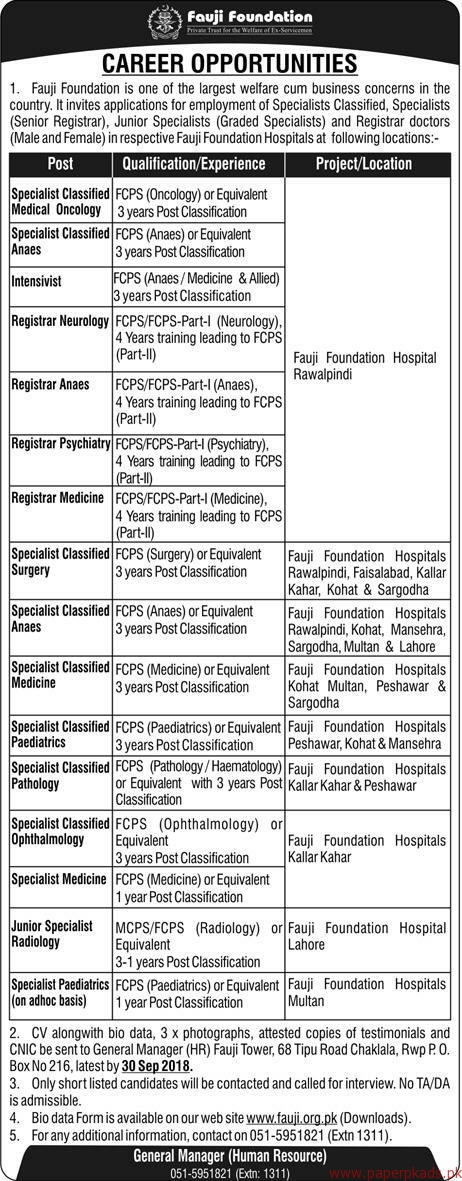 Jobs in Fauji Foundation Department 2018 Latest