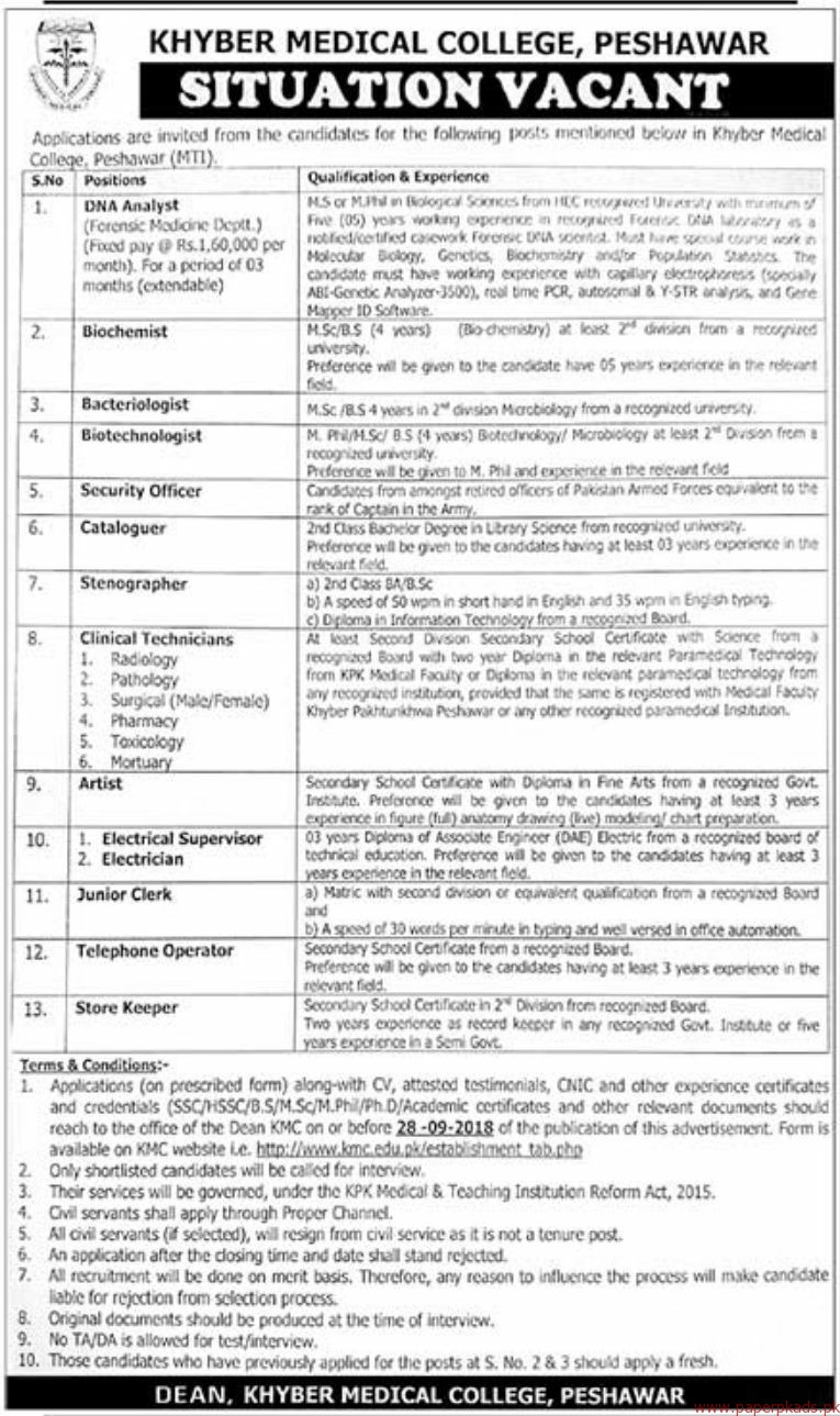 Khyber Medical College Jobs 2018 Latest 1