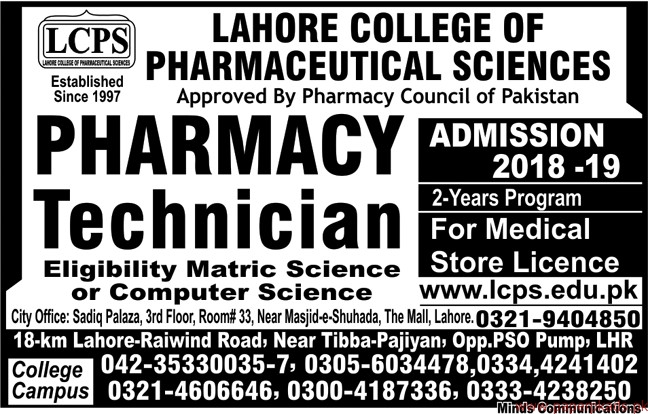 Lahore College Of Pharmaceutical Sciences Lcps Jobs 2018 Latest