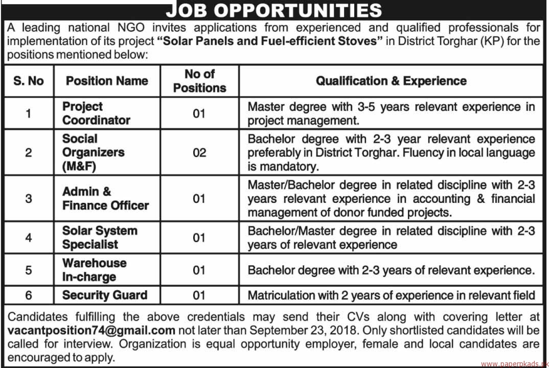 Leading National NGO Jobs 2018 Latest