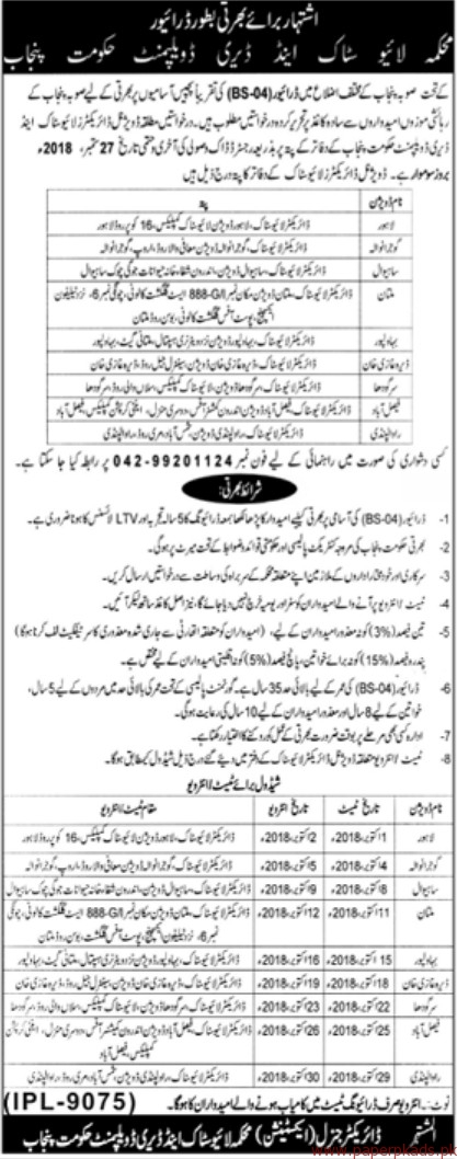 LiveStock and Daity Development Department Jobs 2018 latest