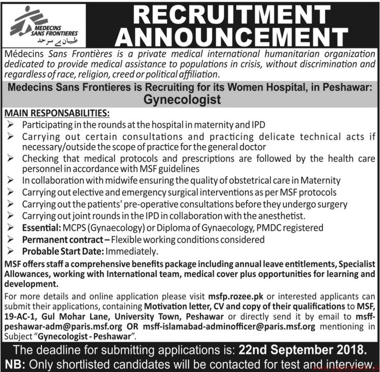 Medecins Sans Frontieres Jobs 2018 Latest
