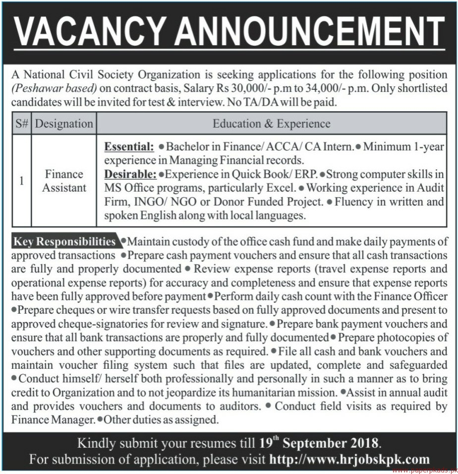 National Civil Society Organization Jobs 2018 latest