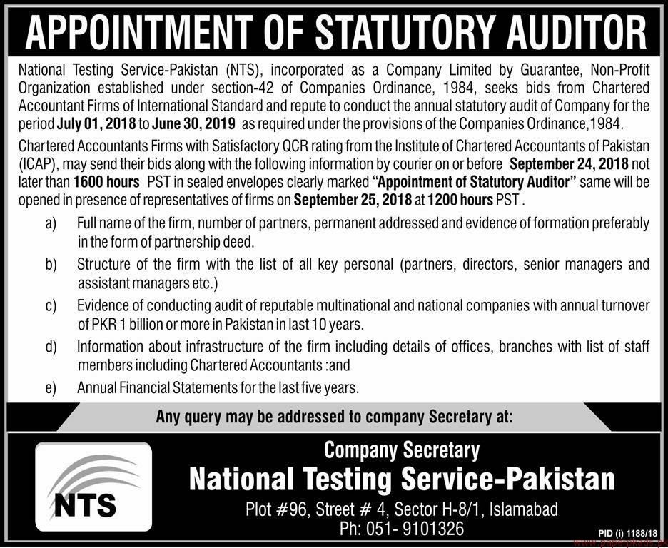National Testing Service Pakistan NTS Jobs 2018 Latest
