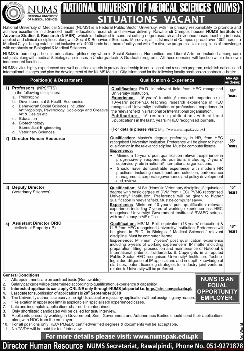 National University of Medical Sciences (NUMS) Jobs 2018 Latest 2
