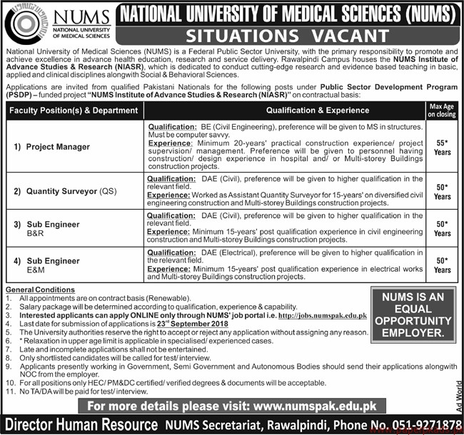 National University of Medical Sciences (NUMS) Jobs 2018 Latest