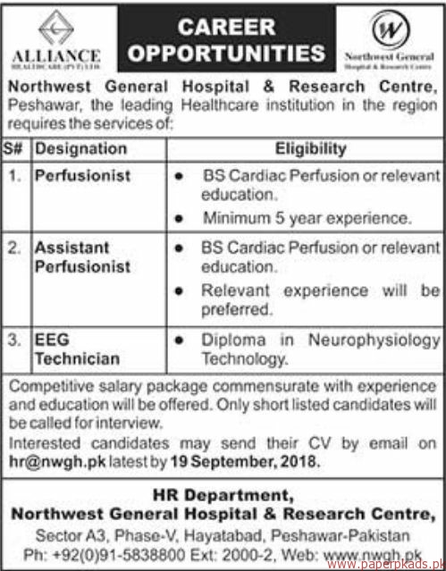 Northwest General Hospital & Research Centre Jobs 2018 Latest