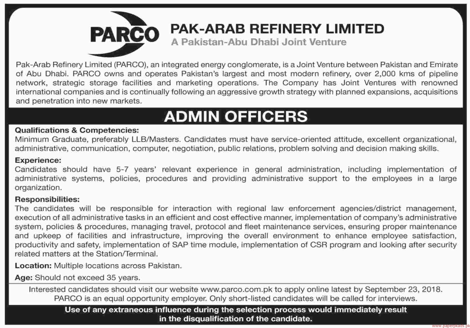 Pak Arab Refinery Limited Jobs 2018 Latest